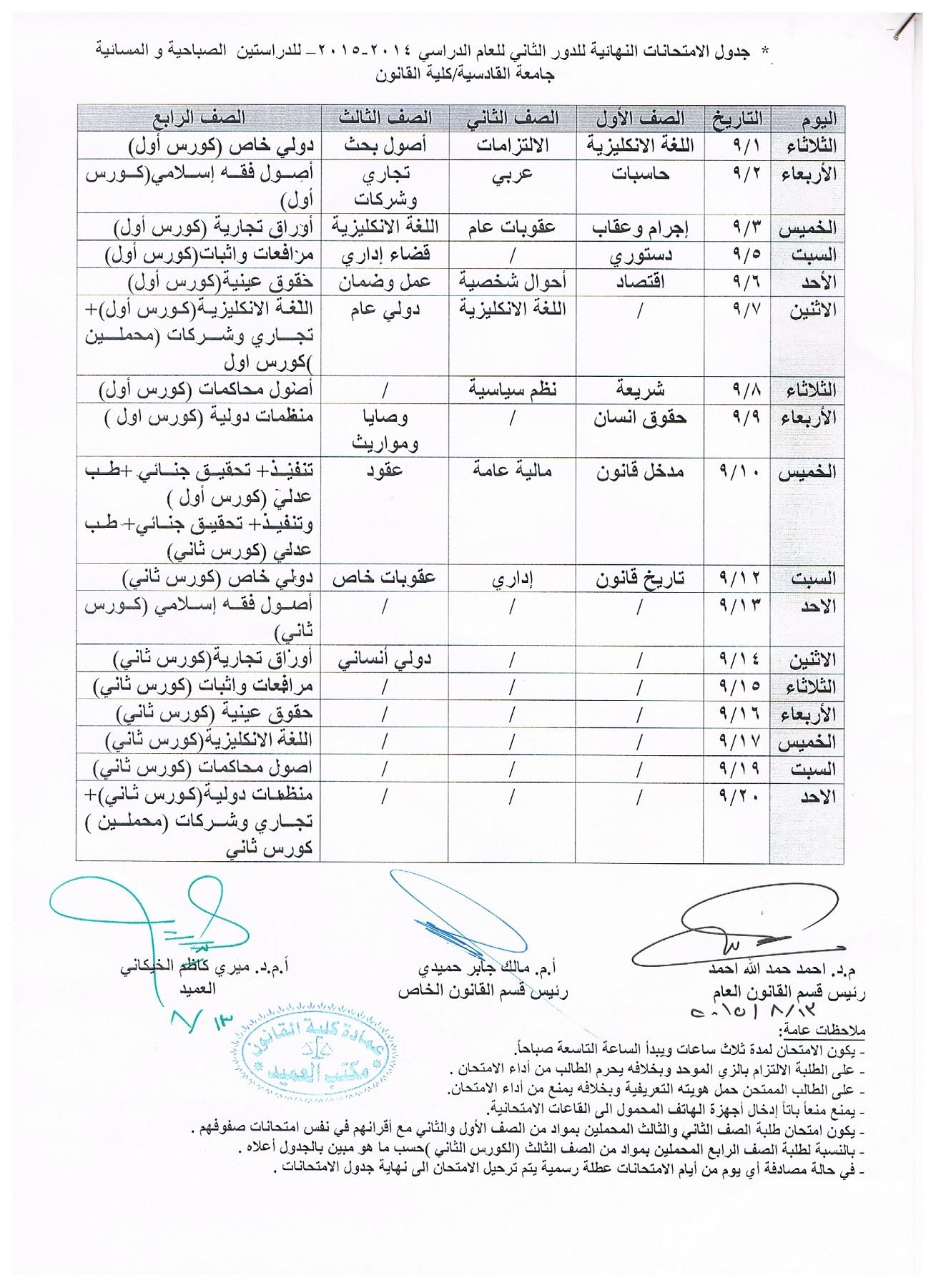 جدول الامتحانات النهائية الدور الثاني للعام الدراسي 2014 – 2015 للدراستين الصباحية والمسائية